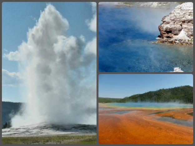 Left: Old Faithful Geyser erupting. Top right: hot spring pool in the Excelsior Geyser Crater. Bottom right: Grand Prismatic Spring, a hot spring in the Middle Geyser Basin.